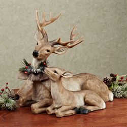Lying Deer with Fawn Sculpture Light Brown