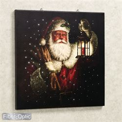 Lighted Santa Print Canvas Wall Art Red