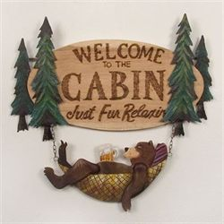 Bear Welcome Wall Art Sign Brown