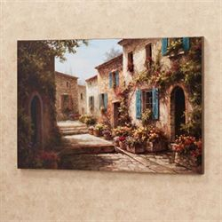 Walkway of Flowers Canvas Wall Art Multi Warm