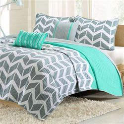 Nadia Coverlet Bed Set Teal
