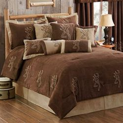 Buckmark Suede Comforter Set Light Chocolate