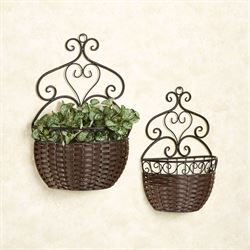 Myra Hanging Baskets Black Brown Set of Two