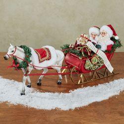 One Horse Open Sleigh Clothtique Santa Figurine Red
