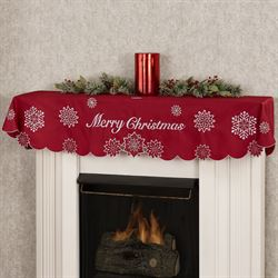 snowflake merry christmas dark red holiday mantel scarf