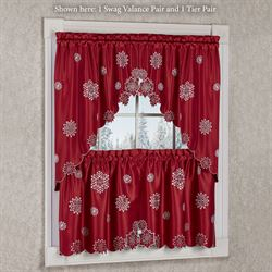 snowflake dark red holiday tier window treatment