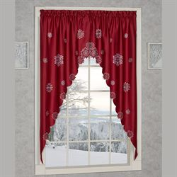 Snowflake Long Swag Valance Pair Dark Red 60 x 63