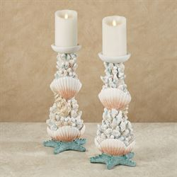 Coral Medley Candleholders Multi Earth Pair