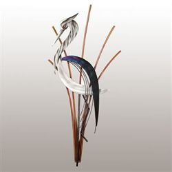 Heron Head Down Wall Sculpture Silver