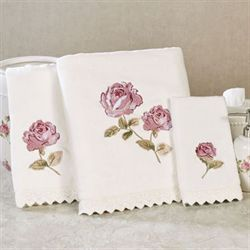 Rosalie Bath Towel Set Ivory Bath Hand Fingertip