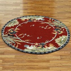 Rooster and Hens Round Rug