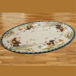 Rooster And Hens Oval Rug