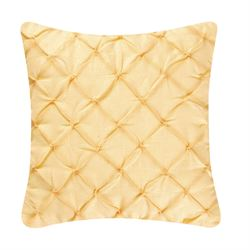 Nina Pintuck Tailored Pillow Golden Yellow 18 Square