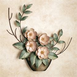 Serene Magnolias in Vase Wall Sculpture Blush