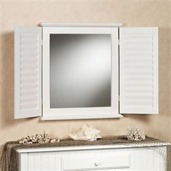 Coastal Shutter Wall MIrror Whitewash