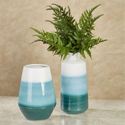 Striped Oasis Vases Blue Set of Two