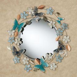 Butterflies and Florals Wall Mirror Blue