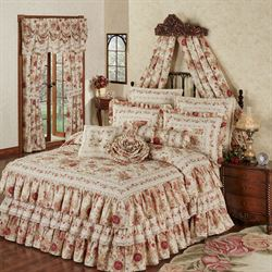 Heirloom Rose Ruffled Grande Bedspread Fawn