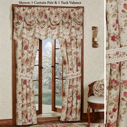 Heirloom Rose Tailored Curtain Pair Fawn 84 x 84