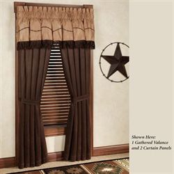 Barbwire Gathered Valance Chocolate 84 x 18