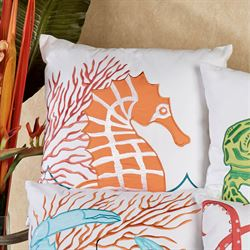 Tropic Escape Seahorse Pillow White 18 Square