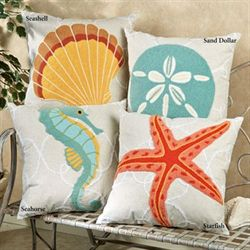 Washed Ashore Seashell Pillow Linen 18 Square