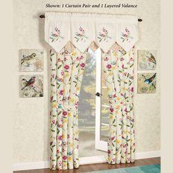 Sweet Tweet Tailored Curtain Pair Light Cream 84 x 84