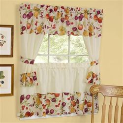 Chesapeake Tier and Swag Valance Set Light Cream