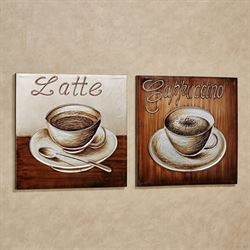 Perfect Blend Coffee Canvas Wall Art Multi Metallic Set of Two