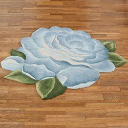 Vintage Charm Flower Shaped Rug Blue