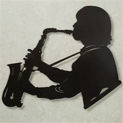 Saxophone Vibes Wall Art Black
