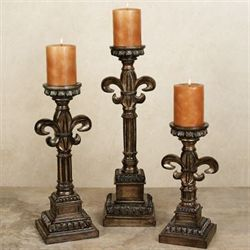 Cayton Candlestick Set Burnished Bronze Set of Three