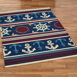 Sailing Away Rectangle Rug Midnight Blue