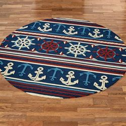 Sailing Away Round Rug Midnight Blue 76 Round