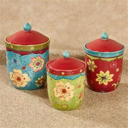 Tunisian Sunset Kitchen Canisters Multi Jewel Set of Three