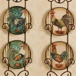 Champion Rooster Plate Set  Set of Four