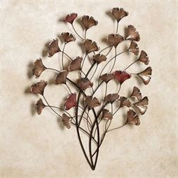 Ginkgo Whispers Metal Wall Sculpture Bronze