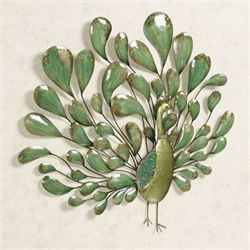 Peacock Regalia Metal Wall Sculpture Jade