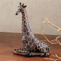 Resting Giraffe Table Sculpture Brown