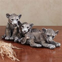 Noble Lion Cubs Table Sculpture Silver Gold