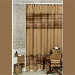 Waves Shower Curtain Tan/Brown 70 x 72
