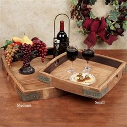 Vino Wine Barrel Serving Tray Walnut