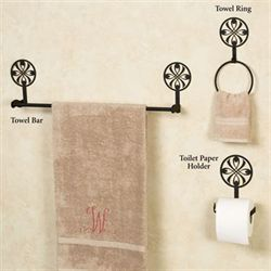 Ribbon Medallion Toilet Paper Holder Black