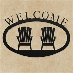 Adirondack Welcome Wall Art Black