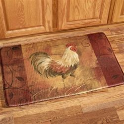 Rooster and Leaves Memory Foam Mat Multi Jewel 35 x 23