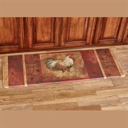 Rooster and Leaves Memory Foam Runner Mat Multi Jewel 55 x 20