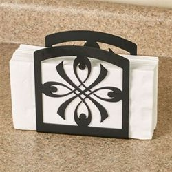 Ribbon Medallion Napkin Holder Black