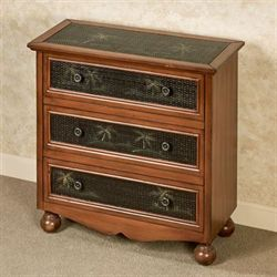 Tropical Palms Accent Chest Regal Walnut