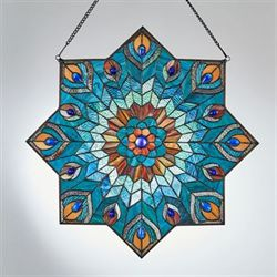 Paralee Peacock Window Art Panel Multi Jewel
