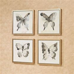 Butterfly Allure Framed Wall Art Charcoal Set of Four
